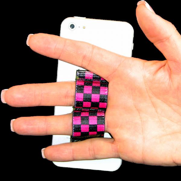 2 Loop Phone Grip - Black and Pink Checkers
