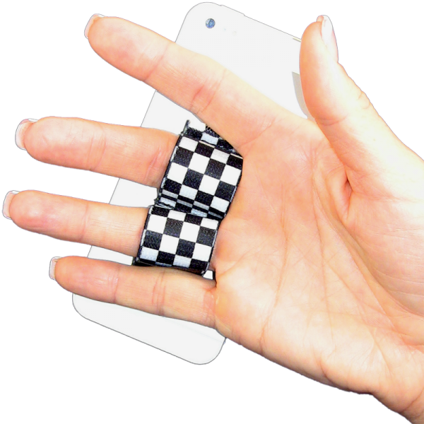 2-Loop Phone Grip - Black and White Checkers
