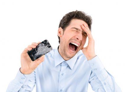 broken smartphone with cracked screen