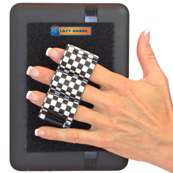 Heavy Duty 3-Loop Tablet Grip - Black and White Checkers